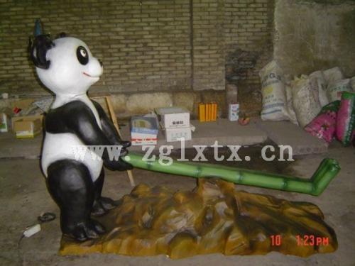 卡通熊猫翘翘板