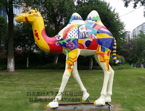 西藏玻璃钢彩绘骆驼